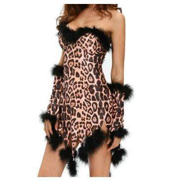 queen vestido sexy leopardo set 3 pcs